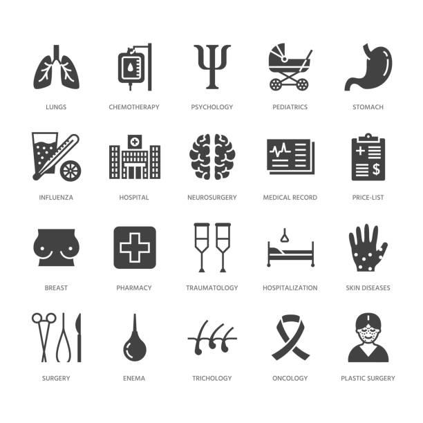 ilustraciones, imágenes clip art, dibujos animados e iconos de stock de hospital, iconos de glifo plana médica. órganos humanos, estómago, cerebro, gripe, oncología, cirugía plástica, signos de salud clínica de psicología mama cáncer. pixel del macizo de la silueta perfecta de 64 x 64 - oncología