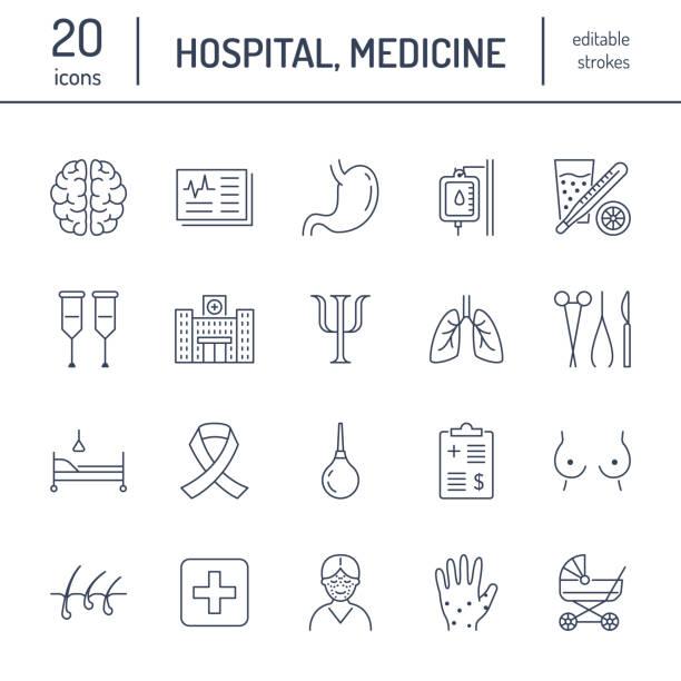 病院、医療のフラット ライン アイコン。人間の臓器、胃、脳、インフルエンザ、腫瘍学、整形外科、心理学、乳がん。医療診療所薄い線形サイン ベクターアートイラスト