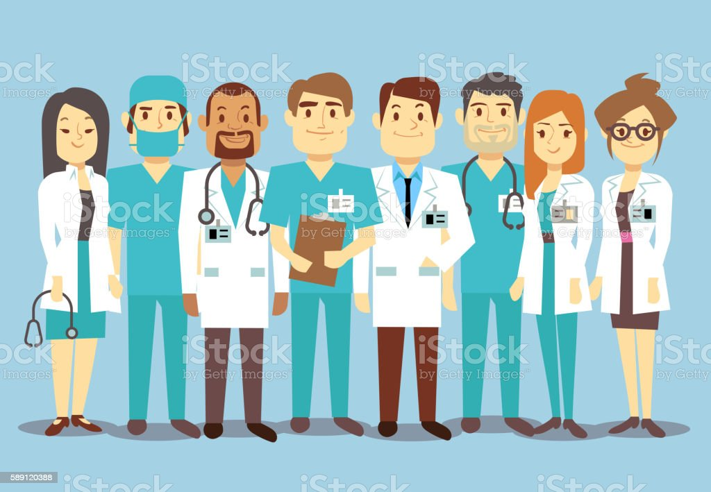 Hospital medical staff team doctors nurses surgeon vector flat illustration - ilustración de arte vectorial