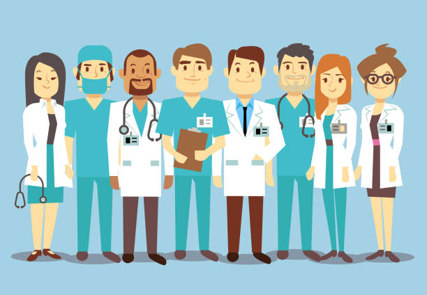 Hospital medical staff team doctors nurses surgeon vector flat illustration - Illustration vectorielle