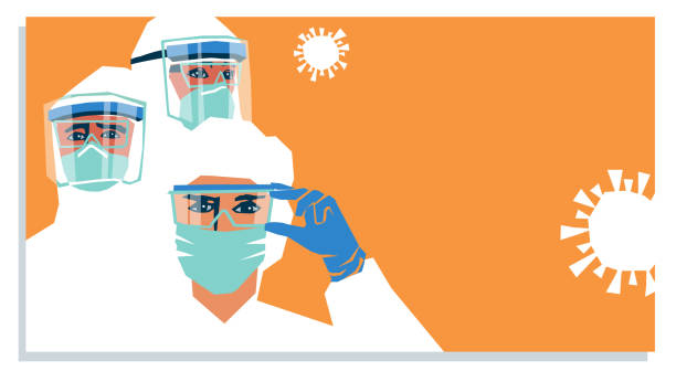 Hospital medical staff wearing PPE, personal protective equipment to care for coronavirus covid 19 patients vector art illustration