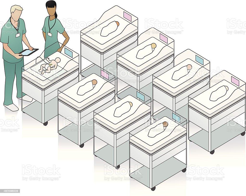 Hospital Nursery Illustration royalty-free stock vector art