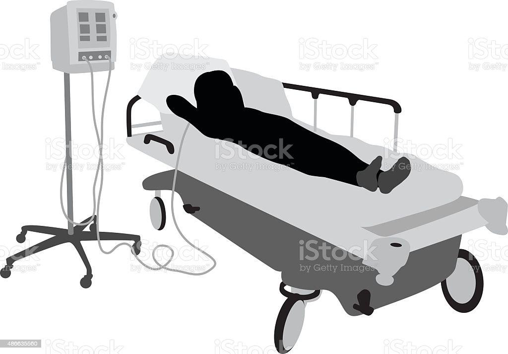 Hospital Patient Feeling Bored vector art illustration