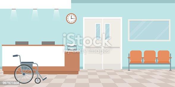 Hospital reception. Empty nurses station. Corridor with armchairs. Flat style, vector illustration.