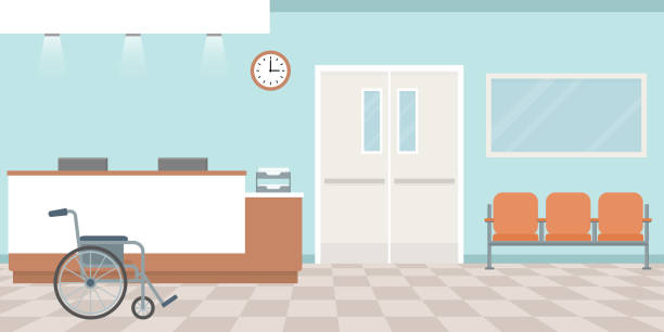 stockillustraties, clipart, cartoons en iconen met receptie van het ziekenhuis. lege verpleegkundigen station. gang met fauteuils. - raam bezoek