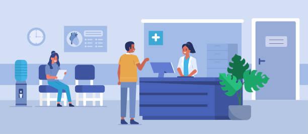 ilustrações, clipart, desenhos animados e ícones de recepção do hospital - consultório médico