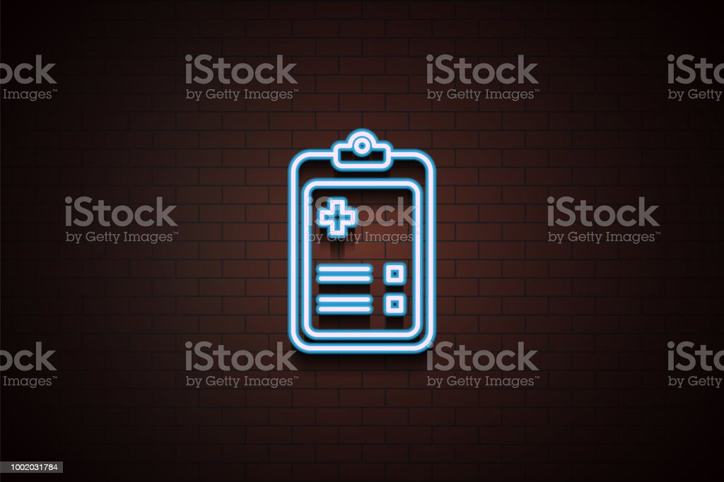 hospital registration icon in Neon on dark brick wall background