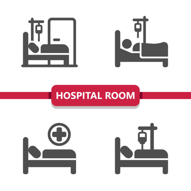 krankenhaus zimmer icons - bett stock-grafiken, -clipart, -cartoons und -symbole