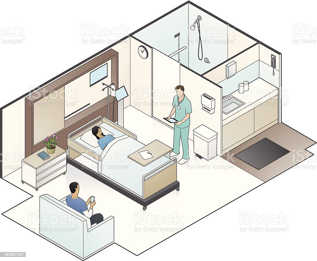 Hospital Room Illustration vector art illustration