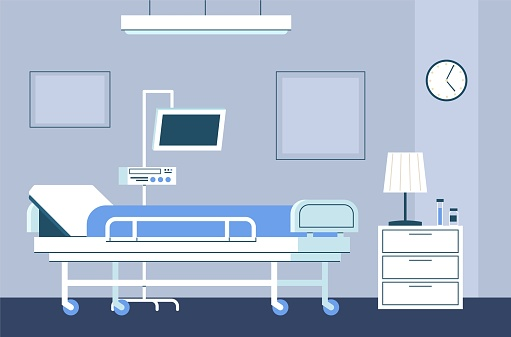 Hospital room interior. Modern intensive therapy ward with bed on wheels and medical equipment emergency clinic with furniture and dropper healthcare vector flat concept in blue colors