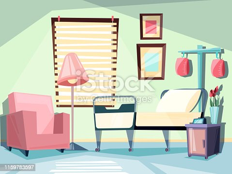 Hospital room. Medical empty interior with couch chair ambulatory bed vector illustrations. Room ward medical with couch and chair