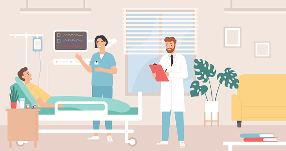 Hospital room. Patient in bed hospital ward, doctor and nurse provide medical care, intensive therapy, healthcare flat vector concept