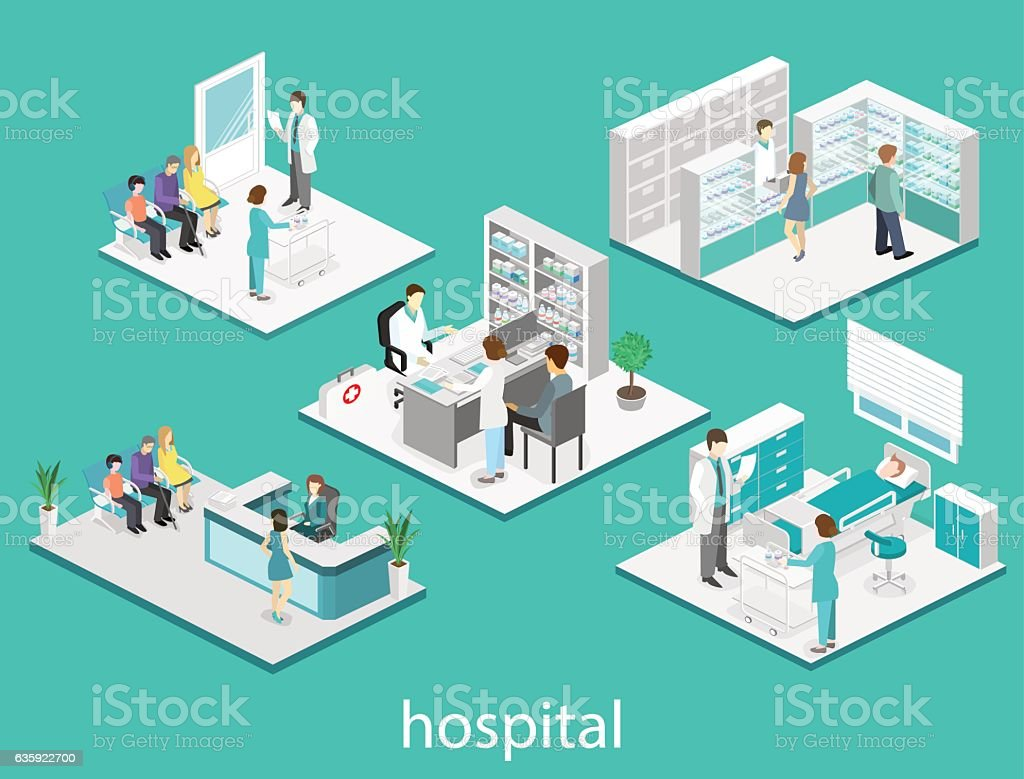 hospital room, pharmacy, doctor's office, waiting room, reception. - ilustración de arte vectorial