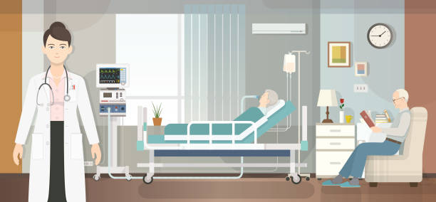 stockillustraties, clipart, cartoons en iconen met ziekenhuis kamer - ventilator bed