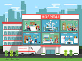 Hospital rooms with medical personnels, doctors and patients. Clinic building vector illustrations