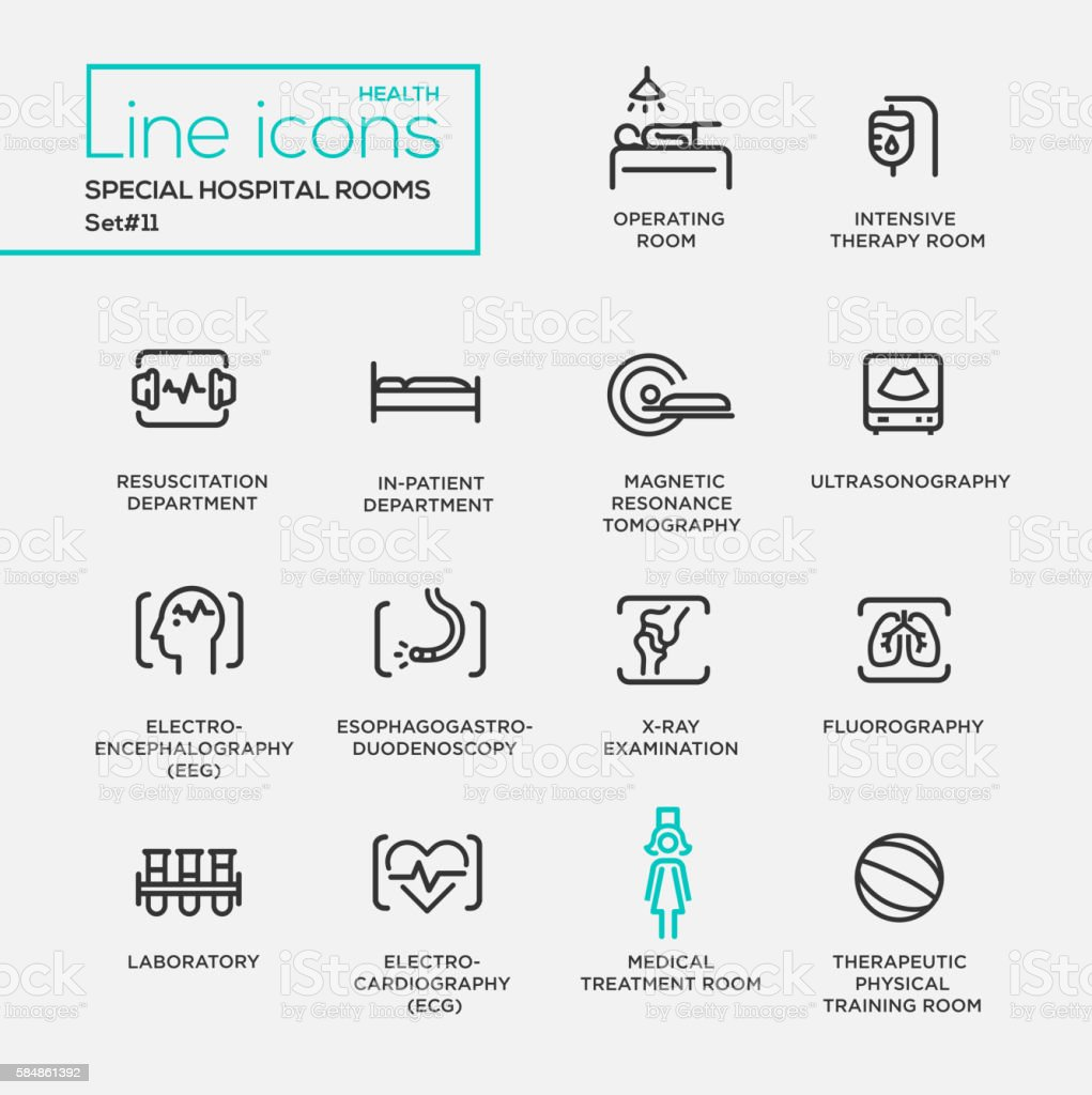 Hospital special rooms - line design pictograms set vector art illustration