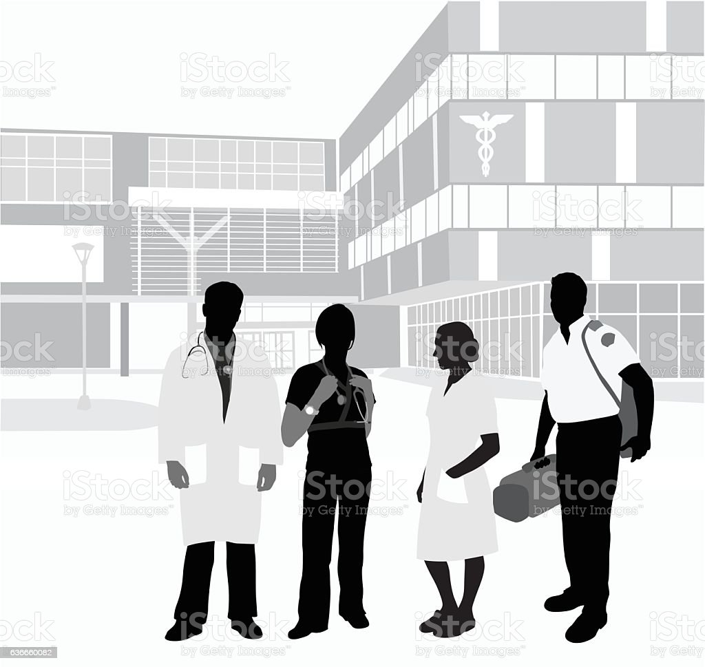 Hospital Staff Colleagues vector art illustration