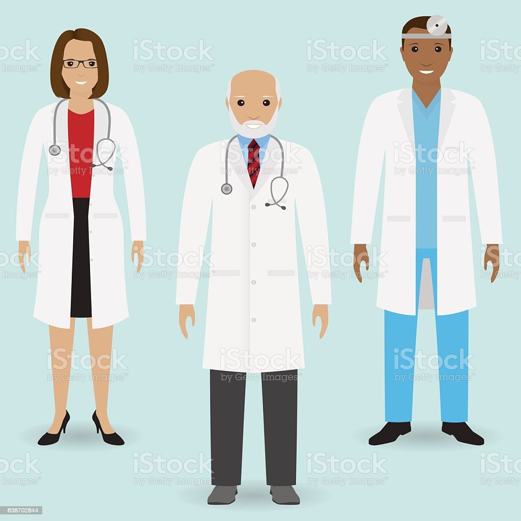 Hospital Staff Concept Group Of Old Doctor And Young Stock Vector