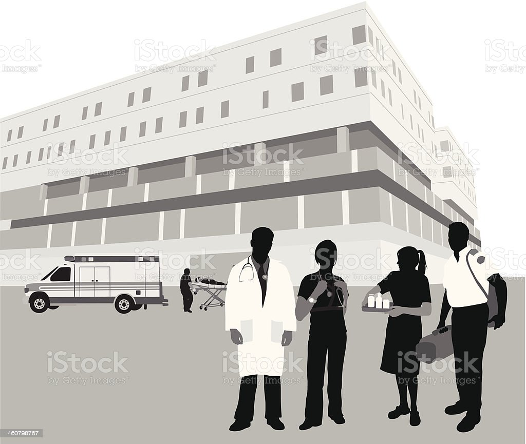 Hospital Staff vector art illustration
