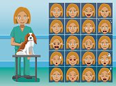 Hospital Staff Veterinarian Cartoon Character Emotion faces