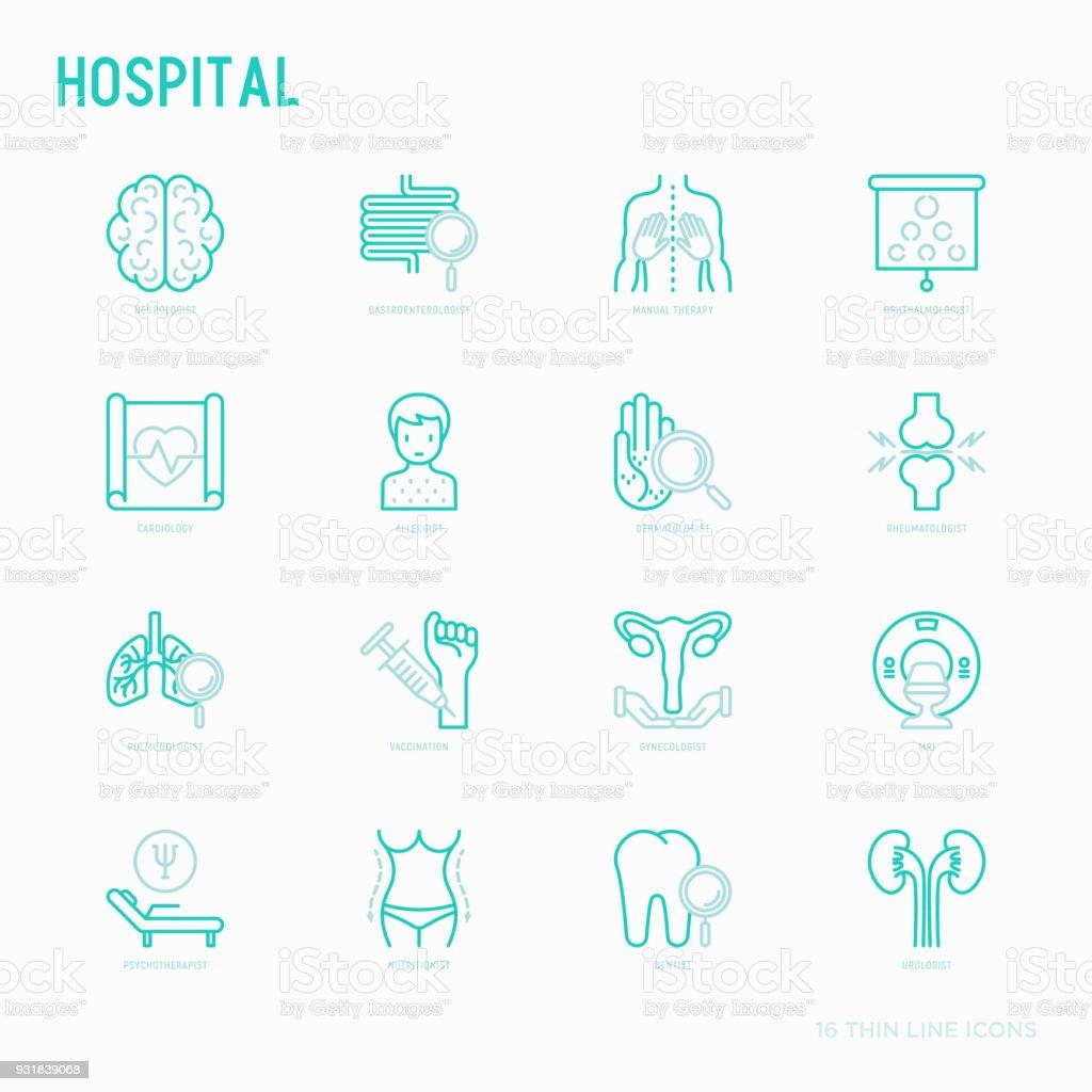 Ícones de linha fina de hospital para a notação do médico: neurologista, gastroenterologista, terapia manual, oftalmologista, cardiologia, alergista, dermatologista, dentista. Ilustração vetorial para a clínica. - ilustração de arte em vetor