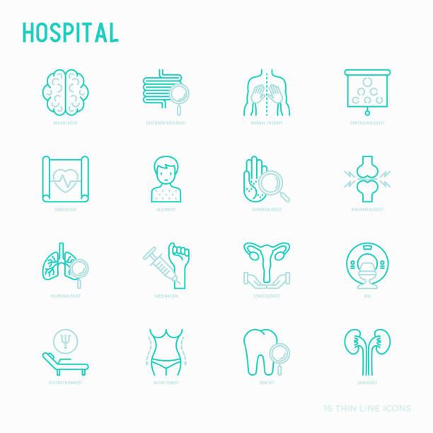 ilustraciones, imágenes clip art, dibujos animados e iconos de stock de los iconos de línea fina de hospital para la notación del doctor: neurólogo, gastroenterólogo, terapia manual, oftalmólogo, cardiología, alergólogo, dermatólogo, dentista. ilustración de vector para la clínica. - dermatología