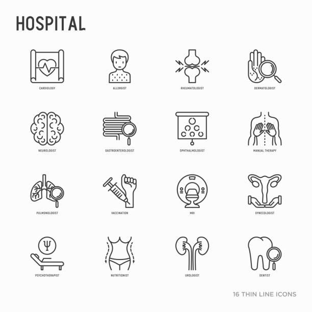 ilustraciones, imágenes clip art, dibujos animados e iconos de stock de los iconos de delgada línea hospital establece para la notación del doctor: neurólogo, gastroenterólogo, terapia manual, oftalmólogo, cardiología, alergólogo, dermatólogo. ilustración de vector. - dermatología