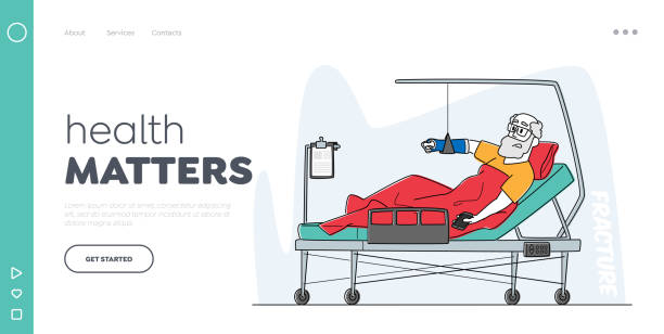 Hospital Traumatology Department Landing Page Template. Senior Male Character Lying in Clinic Chamber with Broken Arm Hospital Traumatology Department Landing Page Template. Senior Male Character Lying in Clinic Chamber with Broken Arm. Injured Patient with Bounded Hand after Car Accident, Linear Vector Illustration human limb stock illustrations