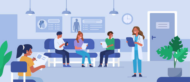 hospital People characters sitting on chairs and waiting appointment time in medical hospital. Doctor inviting next patient in cabinet. Man and woman in queue at the clinic. Flat cartoon vector illustration. hospital background stock illustrations
