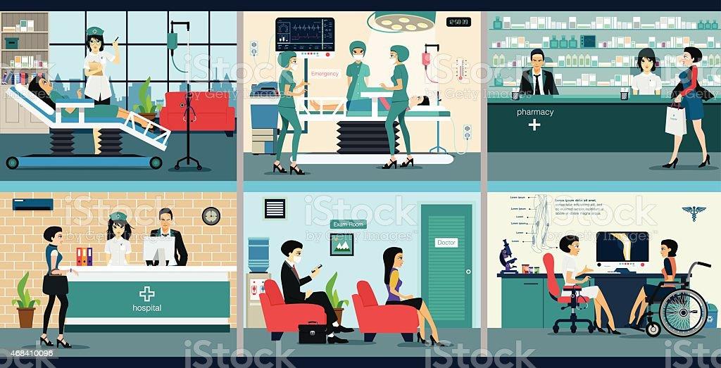 hospital vector art illustration