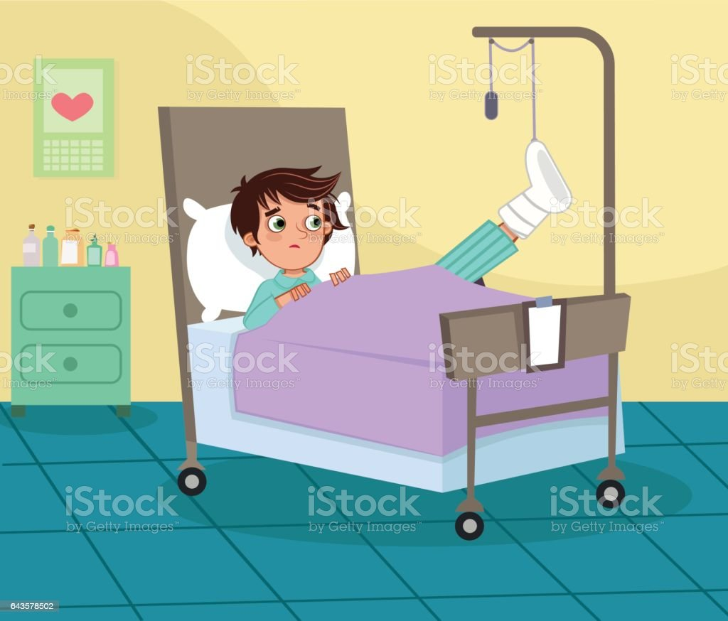Best Cartoon Of Child In Hospital Bed Illustrations, Royalty ...