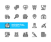Hospital vector line icons. Simple set of outline symbols, linear graphic design elements. Hospital icons set. Pixel Perfect