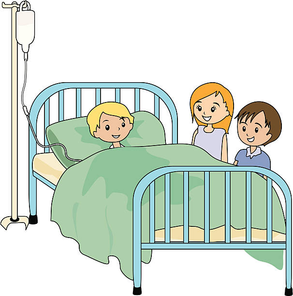 Royalty Free Cartoon Of A Sick Person In Bed Clip Art ...