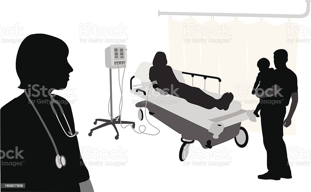 Hospital Visit Vector Silhouette royalty-free stock vector art