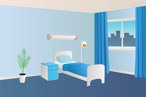Hospital ward clinic room interior illustration vector Hospital ward clinic room interior illustration vector bedroom borders stock illustrations