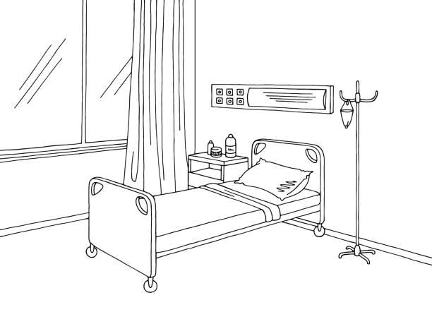 bildbanksillustrationer, clip art samt tecknat material och ikoner med sjukhuset ward grafisk svart vit inredning skiss illustration vektor - sjukhusavdelning