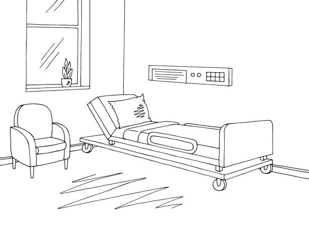 Royalty Free Drawing Of A Empty Hospital Bed Clip Art ...