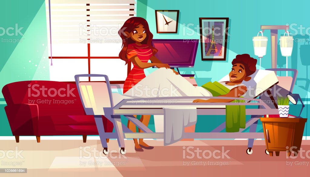 Hospital ward patient visitor vector illustration Hospital ward vector illustration of Afro-American black woman visitor supports patient man lying on medical couch. Cartoon interior background with intensive care unit and furniture Accidents and Disasters stock vector
