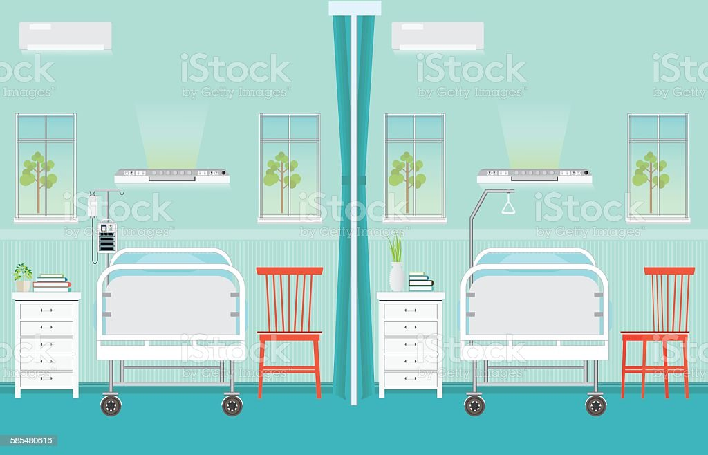 Hospital ward room interior with beds. vector art illustration