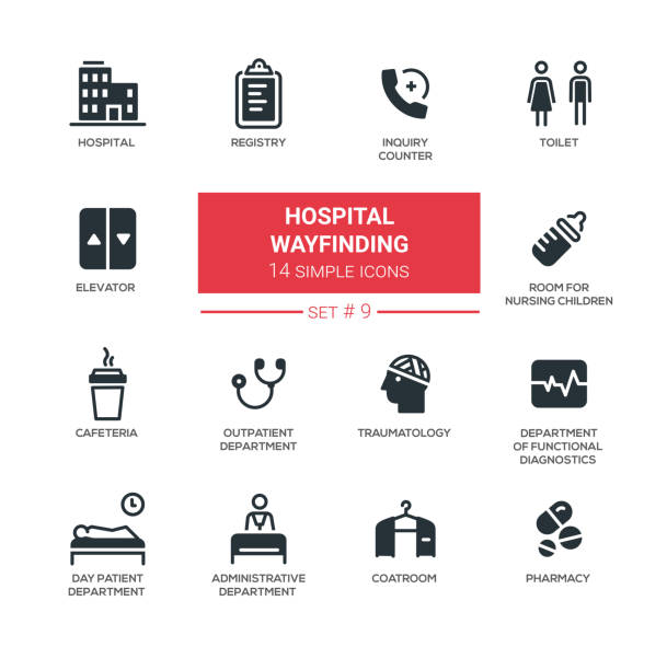 hospital wayfinding - modern simple thin line design icons, pictograms set - wayfinding icons stock illustrations, clip art, cartoons, & icons