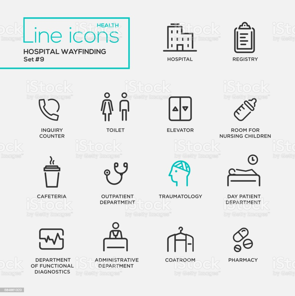 Hospital wayfindings - line design pictograms set vector art illustration