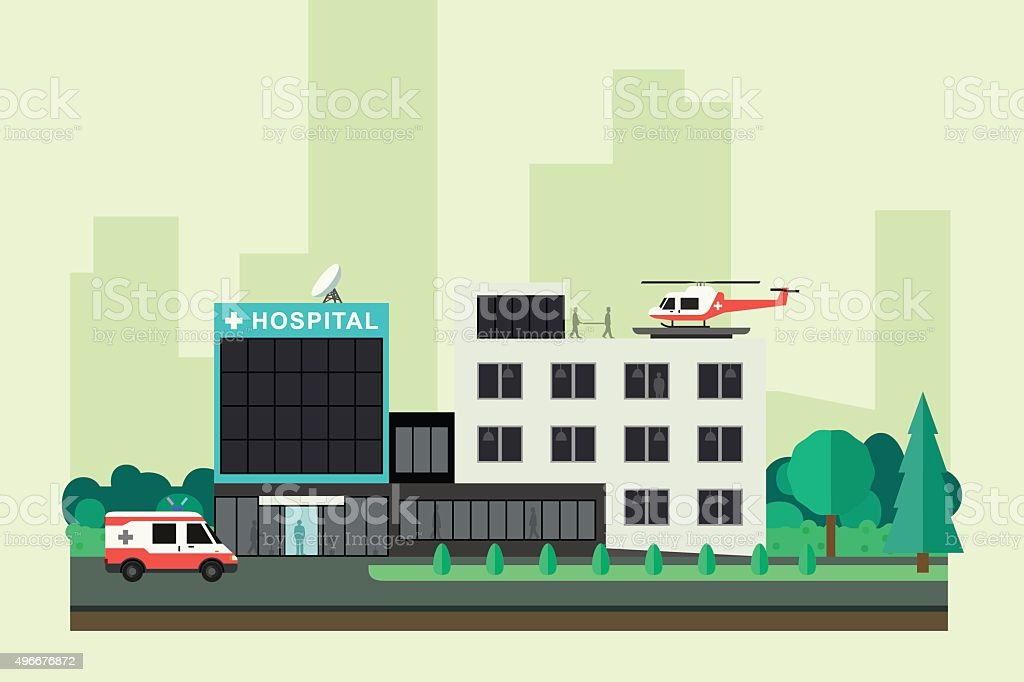 Hospital with ambulance car and helicopter. vector art illustration