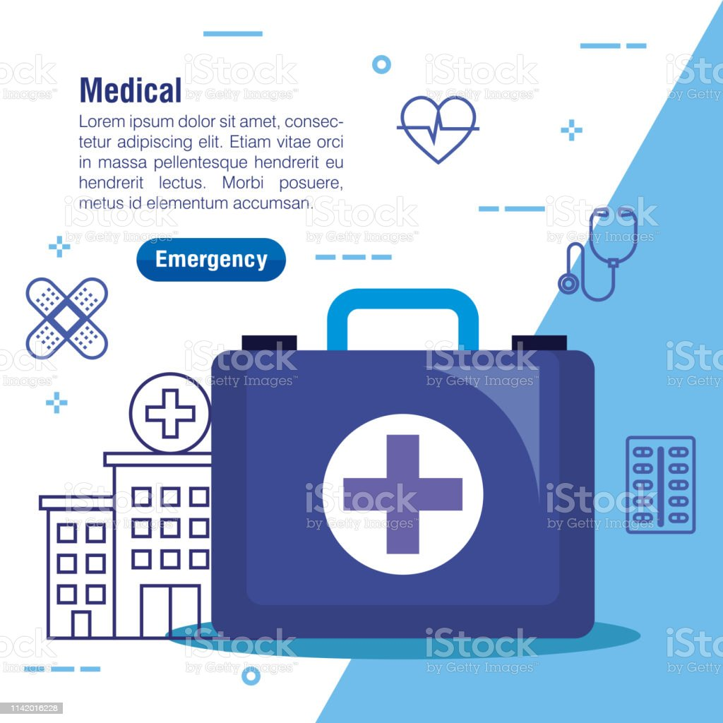 hospital with first aid and medical service vector illustration