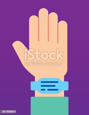 Vector illustration of a hand wearing a hospital wristband against a purple background in flat style.