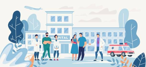 bildbanksillustrationer, clip art samt tecknat material och ikoner med sjukhus gård med ung familj och sjukvårdspersonal - hospital