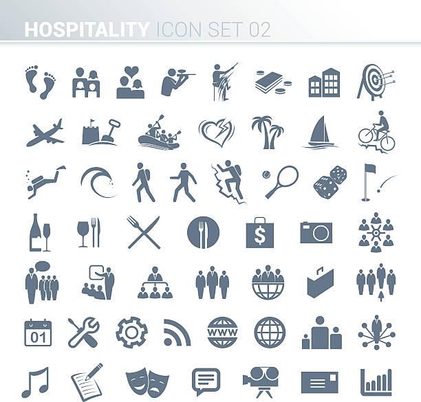hospitality aktivität symbole - urlaubsaktivitäten stock-grafiken, -clipart, -cartoons und -symbole