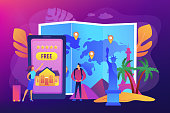 Tourist agency mobile app. Worldwide sightseeing tours. Hospitality and travel clubs, join travelers community, free homestay arrangement concept. Bright vibrant violet vector isolated illustration