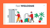 Hospitality, Room Reservation Landing Page Template. Hotel Staff Meeting Guest in Hall Carrying Luggage by Cart. Woman Character Check in Guesthouse for Vacation. Linear People Vector Illustration