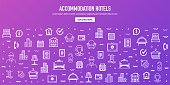 Hospitality and travel online ratings outline style web banner design. Line vector icons for infographics, mobile and web designs.