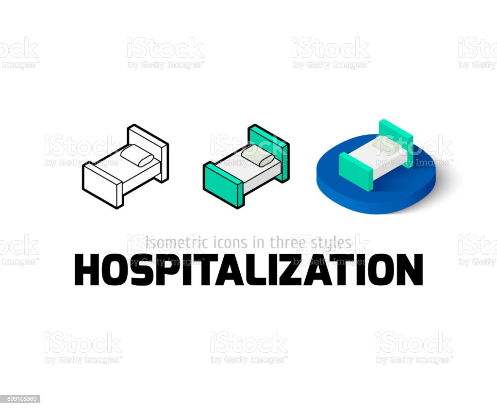 Hospitalization icon in different style vector art illustration